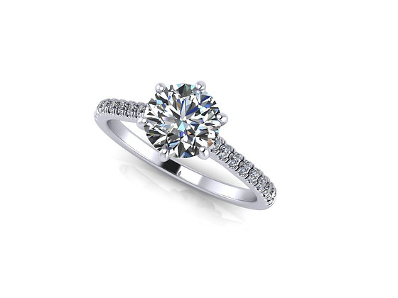 Six Claw Engagement ring with diamond on shoulder