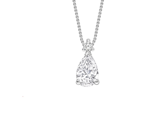 Pear diamond 0.50ct Gia certified with chain.