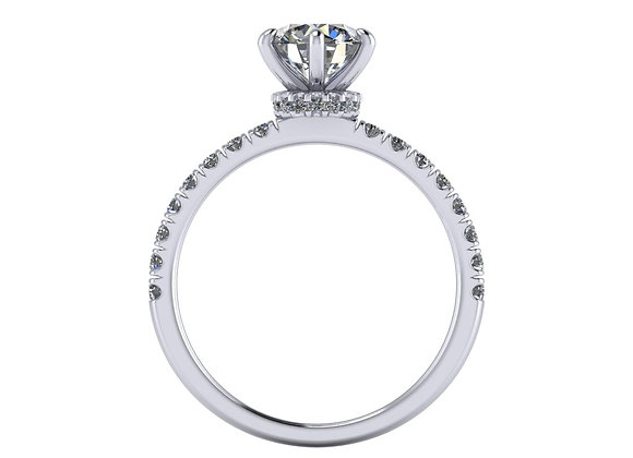 Six claw Under halo with 0.90ct Round Brilliant cut
