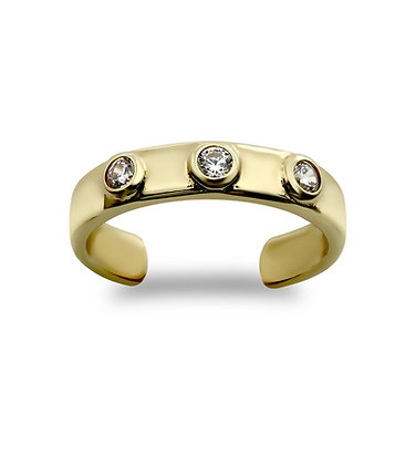 9k Gold 3 CZ set Toe ring