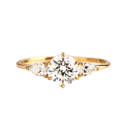 """""""Carey"""" Round with Pear 3-stone Engagement ring"""