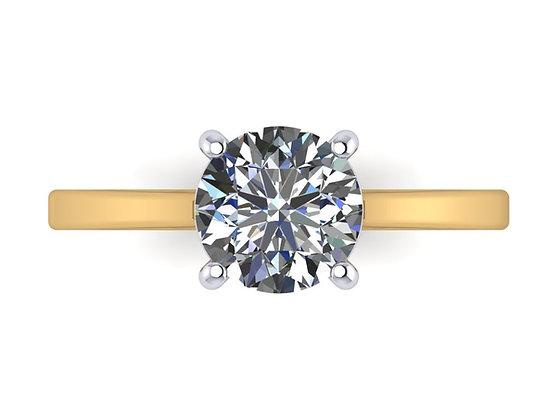 18k Yellow gold Round diamond 0.90ct IVS2