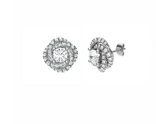 Round Diamond Spiral halo earrings 0.80ct