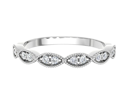 Marquise shape Round Brilliant Bezel set Diamond vintage look wedding/stack ring