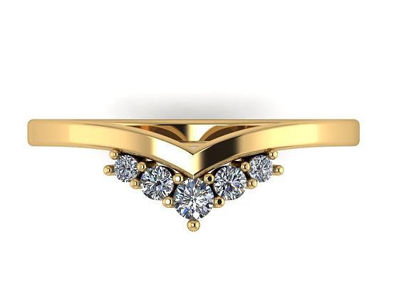 V-shape Band with 5 Diamonds
