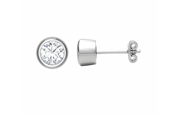 Rub-over Diamond ear studs