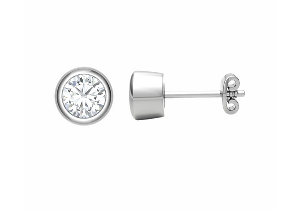 Rub-over Diamond ear studs