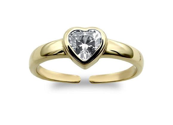 9k gold CZ heart Toe ring