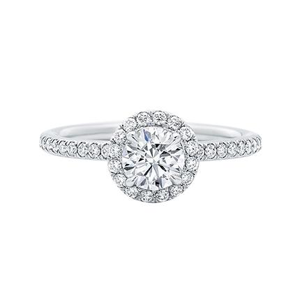 Petite floating Halo Round Brilliant engagement ring