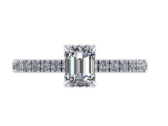 Emerlad cut petite underhalo/hidden halo ring