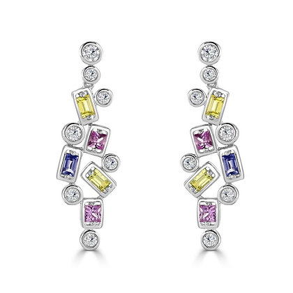 Multi colour sapphire and diamond drop earring