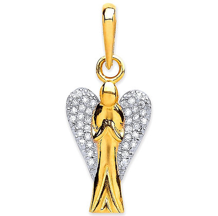 9k Gold and CZ Angel charm pendant