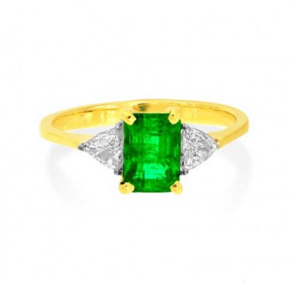 Emerald with Trillion Diamonds