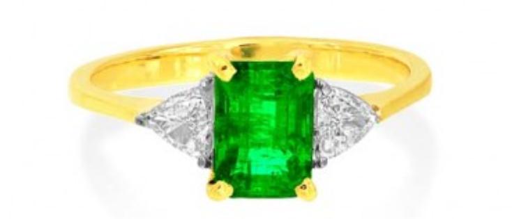 Emerald with Trillion Diamonds