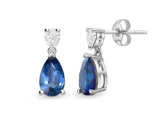 Pear shape Sapphire and Diamond earring