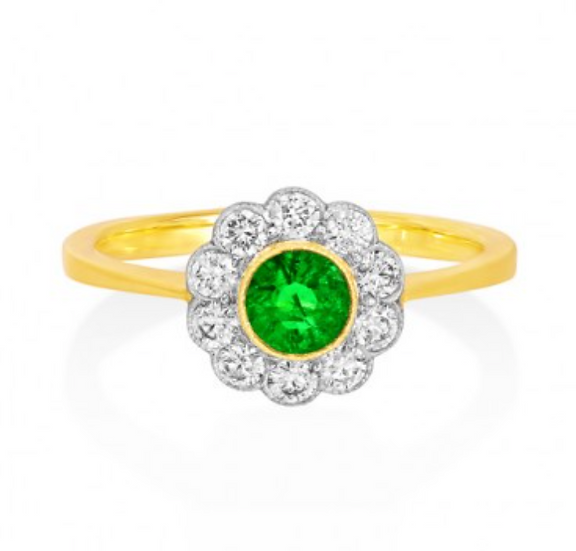 Round Emerald Cluster Ring