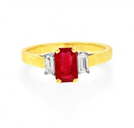 Ruby Three Stone Emerald Cut