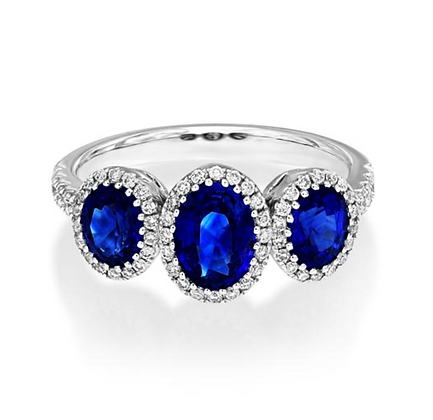 Oval Sapphire Three Stone Halo with shoulder