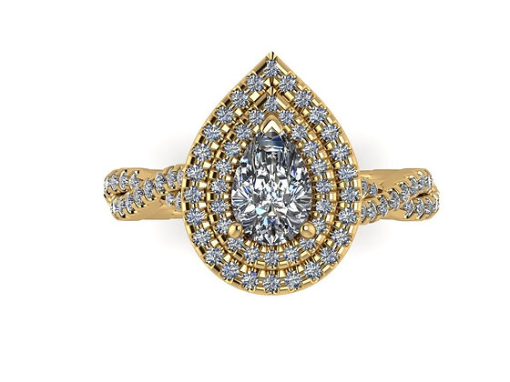 'Rayon' Pear Cut Diamond double halo engagement ring