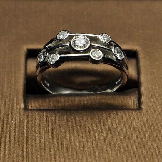 Fancy White Gold Rubover Ring