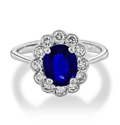 Oval Sapphire Floral Halo