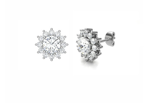 Round Diamond Floral cluster earrings 0.80ct