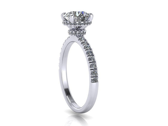 Hidden halo engagement ring with 0.90ct Round Brilliant Cut