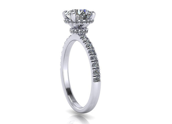 Hidden halo engagement ring with 1ct Round Brilliant Cut