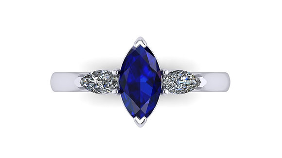 Marquise Sapphire and Pear Diamond ring