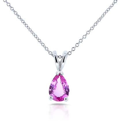 Pink Sapphire pear drop pendant 7x5mm