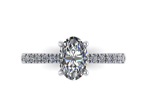 Oval Diamond dainty micro set ring