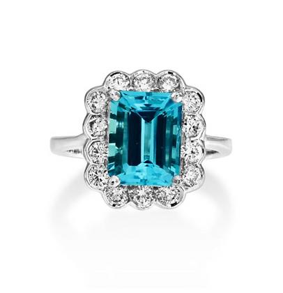 Emerald Aquamarine Floral cluster ring