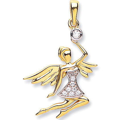 9k Gold and CZ Flying Angel charm pendant