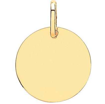 9k Gold circle disc pendant
