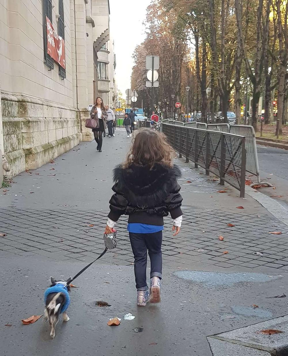 Passeando com o cachorro em Paris