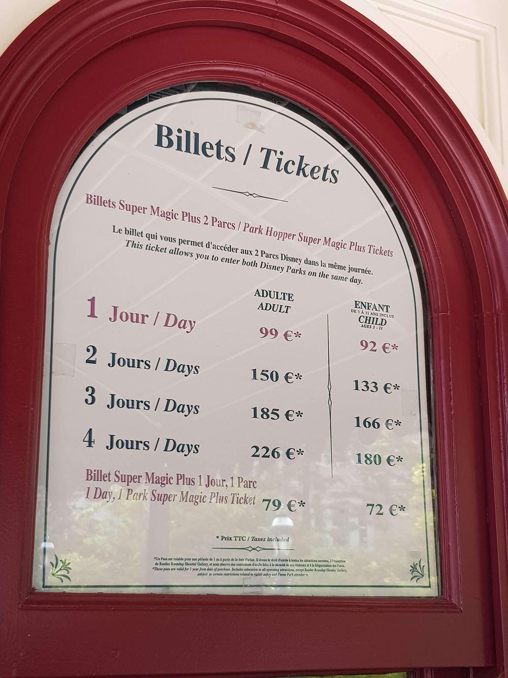 Preços dos Ingressos Disneyland Paris