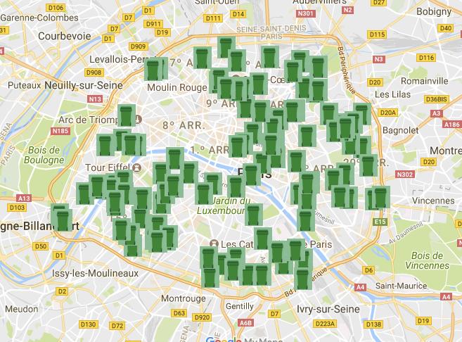 Mapa com pontos de encontro