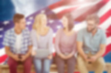 Group of People with American Flag Background