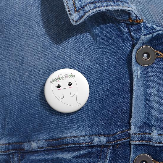 Boho Flower Crown Ghost Button Pin