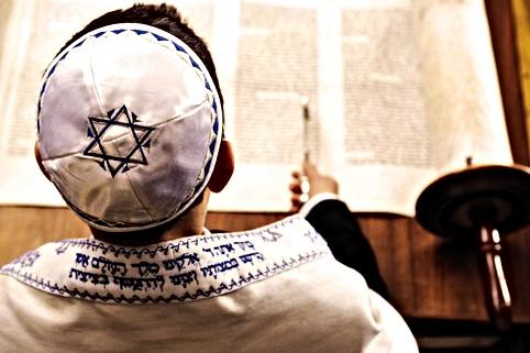 Bar Mitzvah Boy Reading the Torah