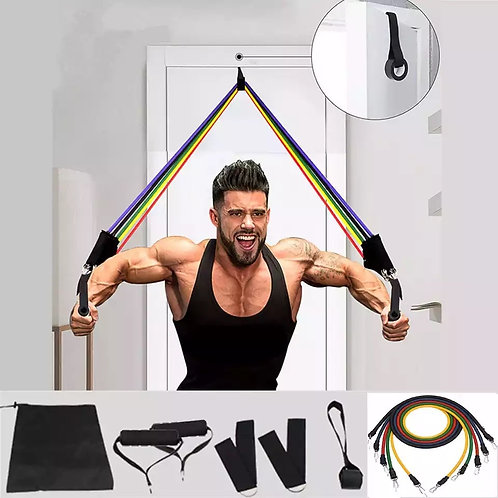 11 Pcs Elastic Resistance Bands Sets Workout Rubber Elastic  Band for Fitness