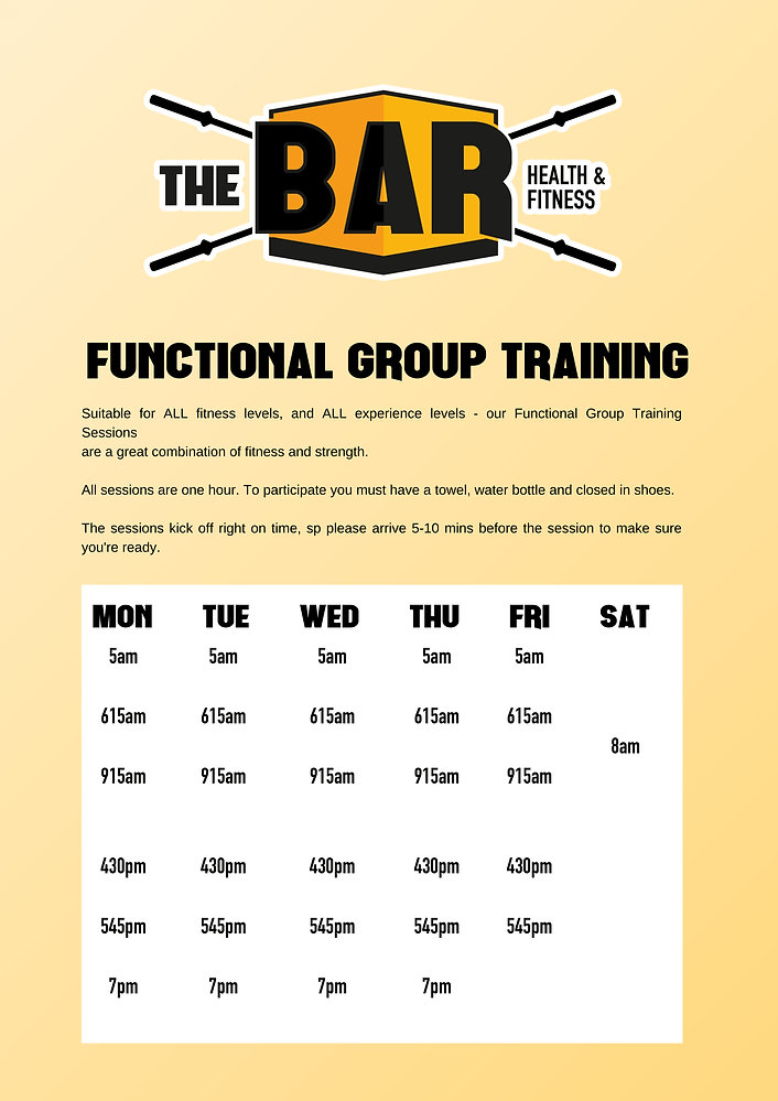 Timetable - Functional Group Training-mi