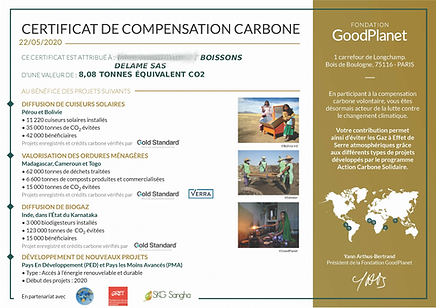 2020 - certificat compensation carbone G