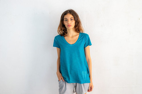 Embroidered Small Wings V-neck T-shirt 07