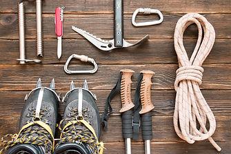 climbing equipment_ rope, trekking shoes