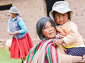 Native american girl with typical aymara