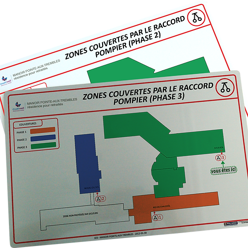 Affiches des zones protégées par les systèmes de gicleurs