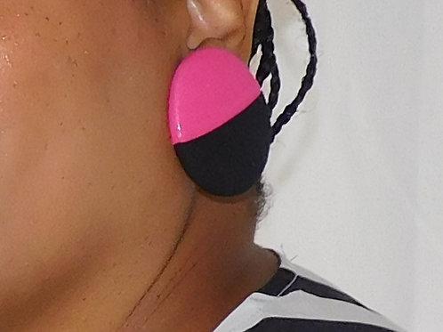 Custom Two Tone  Large Button Earrings