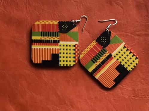 Wooden Kente Print Earrings