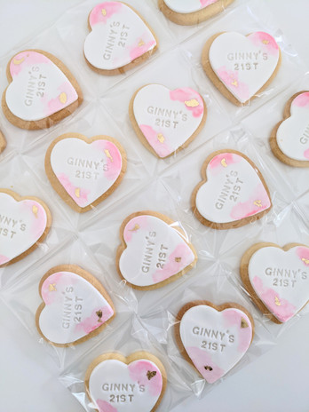 Watercolour heart cookies